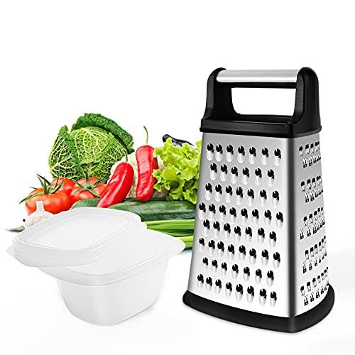 Gelrova Râpe 4 côtés en Acier Inoxydable - Râpe de Cuisine pour râper grossièrement et Fine, pour Fruits, légumes, Carottes, Fromage, Passe au Lave-Vaisselle