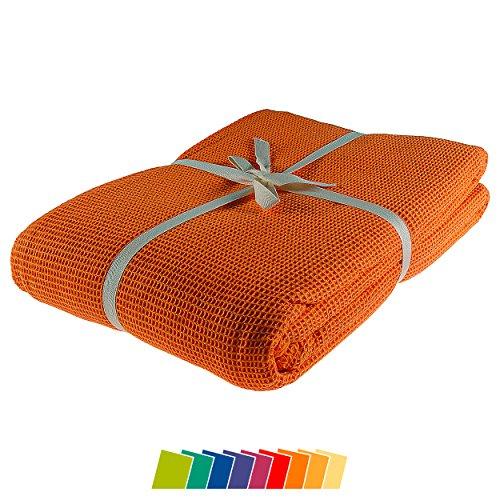 kneer KULTUR DER NACHT Waffelpique Decke, Baumwolle, Orange, 150 cm x 210 cm