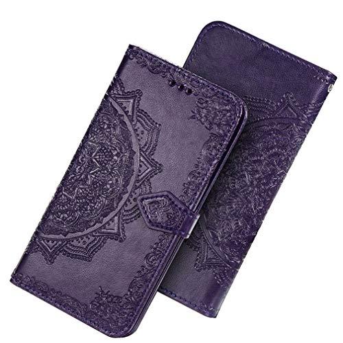 Preisvergleich Produktbild HAOYE Hülle für Xiaomi Mi Note 10 Lite Hülle,  Mandala Geprägtem PU Leder Magnetische Filp Handyhülle mit Kartensteckplätzen / Standfunktion,  [Anti-Rutsch Abriebfest] Schutzhülle. Lila