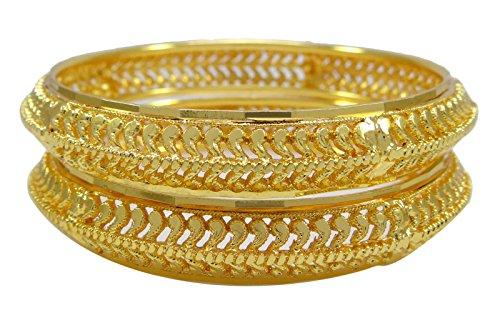 Banithani, bracciali tradizionali indiani, da sposa, placcati oro 18 kt, set da 2 braccialetti etnici e Lega, colore: Gold (Design#2), cod. BSG3064E