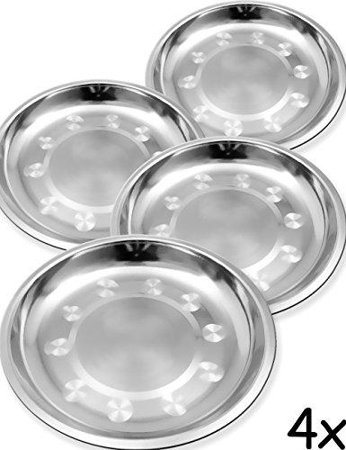 Outdoor Saxx® - 4 x roestvrij stalen borden, campingborden, outdoor borden, wandelen tenten, klein licht, breukvast, 18 cm, set van 4