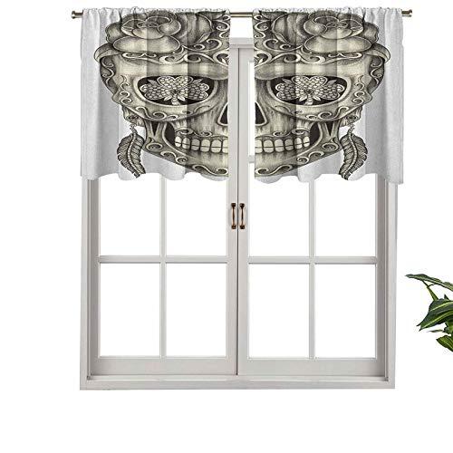Hiiiman Fashion Design Mantovana termica isolata finestra pannelli spagnoli zucchero teschio con rose occhi libellula orecchini piuma, set di 1 pezzo, 137,2 x 45,7 cm per camera dei bambini
