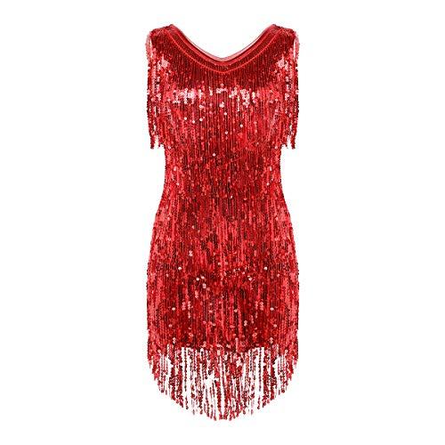 iixpin Damen Pailletten Latein Salsa Rumba Tanzbauch Kleider Tanzkleid Metallic Kleid Glitzer Latin Kleider Sparkle & Shine Tanzkleid für Party Performance Rot Large