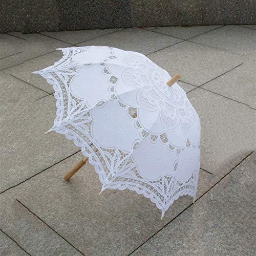 N\A Sombrilla de 80 cm para boda, con encaje victoriano, bordado de encaje (color: blanco)
