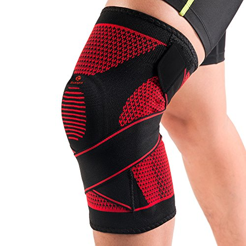 Kuangmi ginocchiera con molla Supporto silicon-ring bendaggio regolabile stabilizzatore per tipi di sport ad alta intensità e exercises-knitting traspirante, Black