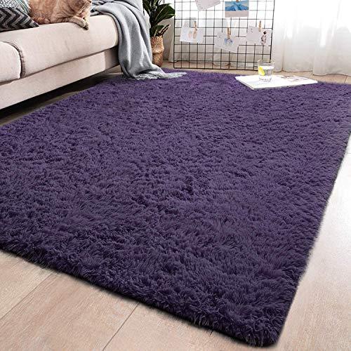 YJ.GWL Soft Shaggy Area Rugs for Bedroom Kids Room Children Playroom Non-Slip Living Room Carpets Nursery Mat Home Décor Rug 4 Feet x 5.3 Feet (Gray Purple)