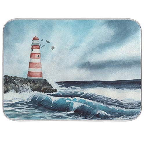 Lighthouse Wave Dish Drying Mats for Kitchen Counter Absorbent Reversible Dishes Drainer Pad 18 x 24 In 2030010