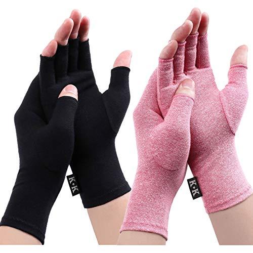 Digitek Arthritis Handschuhe - Kompression Rheumatoide Handschuhe Fingerlos Zur Schmerzlinderung handschuh Rehabilitation Schmerzen lindern Tägliche Arbeit Für Männer Frauen (Black+pink, Medium)