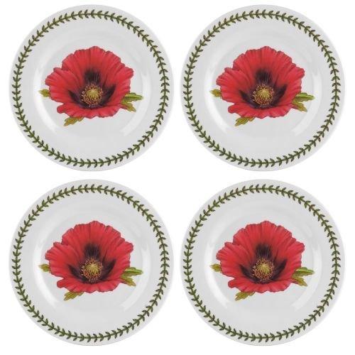 Portmeirion Botanic Garden Set of 4 Melamine Salad Plates, 8', 8', White