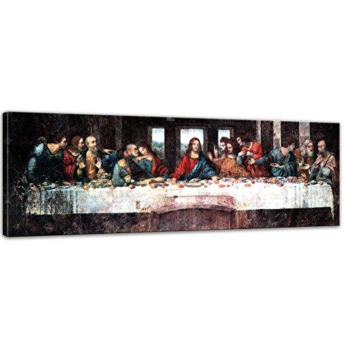 Wandbild Leonardo da Vinci Das Abendmahl - 90x30cm Panorama quer - Alte Meister Berühmte Gemälde Leinwandbild Kunstdruck Bild auf Leinwand