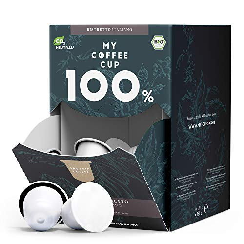 My Coffee Cup – MEGA BOX RISTRETTO ITALIANO – BIO-KAFFEE I 100 Kaffeekapseln für Nespresso®³-Kapselmaschinen I 100% industriell kompostierbare Kaffeekapseln – 0% Alu I Nachhaltige Kaffeekapseln