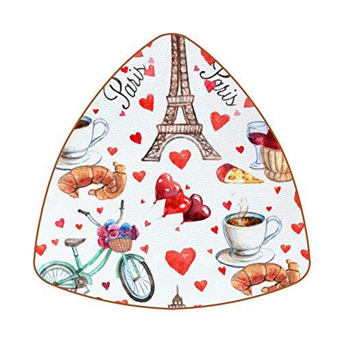 Posavasos para bebidas, juego de 6 posavasos para bebidas frías, copas de vino, tazas de la Torre Eiffel de París, amor, corazón, té, vino
