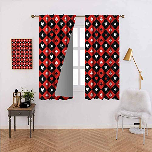 Price comparison product image Poker Tournament Decorations Curtains Tailored Card Suit Chess Board Classic Checkered Pattern Symbols for Patio / Front Porch Red Black White 63x63 inch