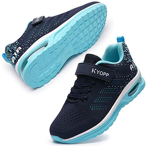 Kyopp Turnschuhe Jungen Mädchen Laufschuhe Kinder Klettverschluss Atmungsaktiv Air Sportschuhe Kinderschuhe 31EU-38EU (Blau 38EU)