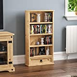 Vida Designs Corona Bookcase, 1 Drawer, Blu-ray/CD Rack, Solid Pine Wood