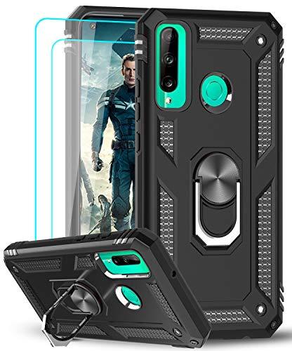 LeYi für Huawei P40 Lite E Hülle mit Panzerglas Schutzfolie(2 Stück),360 Grad Ring Halter Handy Hüllen Cover Magnetische Bumper Schutzhülle für Hülle Huawei P40 Lite E Handyhülle Schwarz