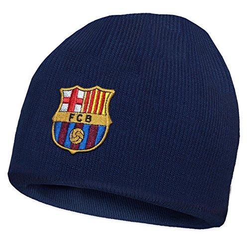 FC Barcelona - Gorro básico oficial de punto - Para niños - Con el escudo del club - Gorro azul marino