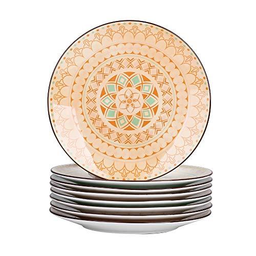 Vancasso Speiseteller Porzellan, Tulip 8 teilig Flachteller, Serie Mandala, Geschirr Tellerset Ø 27 cm Frühstückteller Essteller