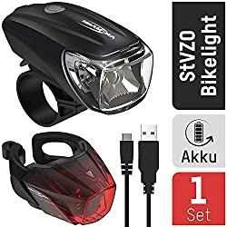 ANSMANN bicycle light set StVZO approved - battery powered and rechargeable via USB, CREE LED, rainproof, easy to mount, removable - bicycle lights consisting of front light & rear light
