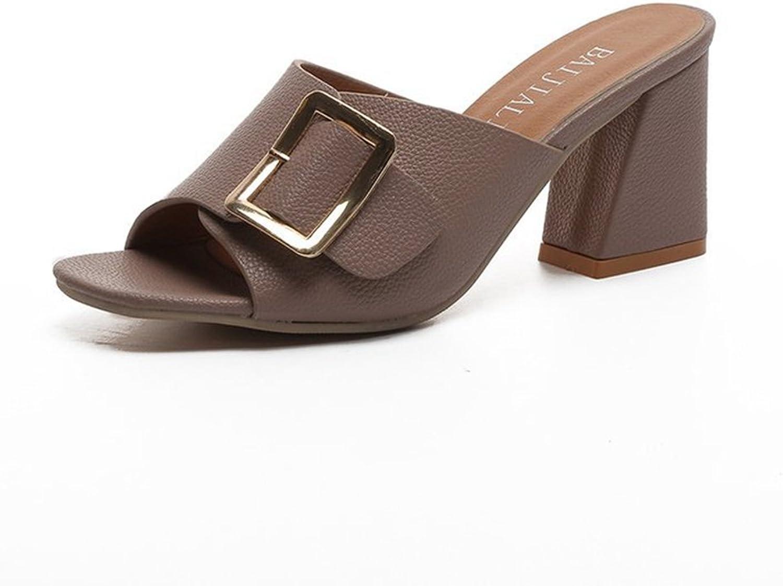 T-JULY Womens Ladies Metal Platform Bohemia Slide Sandals Belt Buckle Low Square Heel Sandals Slip On Dressy Slipper