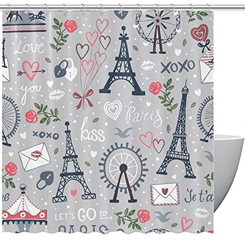 MUMIMI Juego de cortinas de ducha con ganchos, resistente al agua, cortina de baño de hotel, dibujado a mano, diseño de torre Eiffel para el hogar, cortina de baño de 182 x 183 cm
