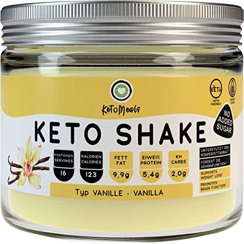 KetoMeals Keto Shake Vanille | Keto Diät Shake zum Abnehmen | Low Carb Lebensmittel mit Ketose konformen Protein Pulver Anteil | Optimale Makronährstoffe für Ketogene Ernährung, 240g
