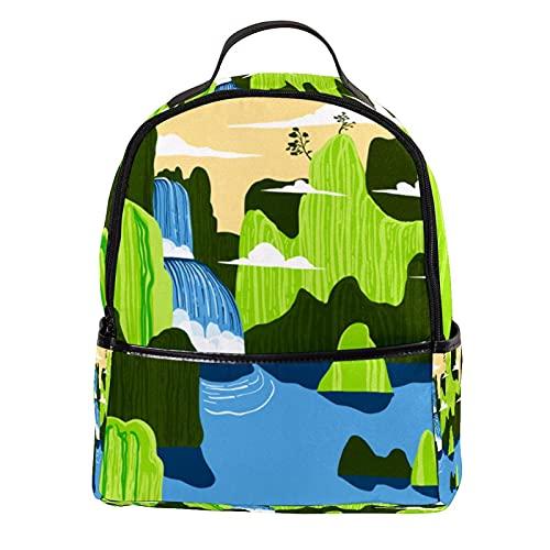 KAMEARI Mochila para la escuela verde paisaje de montaña cascada mochila casual para viajes con bolsillos laterales de botella