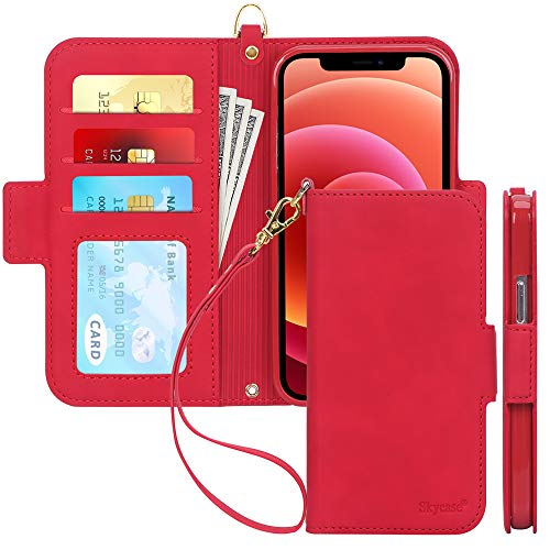 "Skycase Compatible for iPhone 12 Case/Compatible for iPhone 12 Pro Case,[RFID Blocking] Handmade Flip Folio Wallet Case with Card Slots and Detachable Hand Strap for iPhone 12/12 Pro 6.1"" 2020,FG-Red"