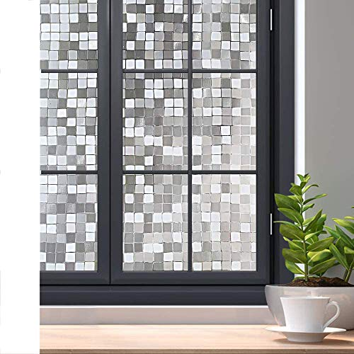 rabbitgoo 3D Decorative Window Film Privacy Winodw Cling No Glue Static Door Film for Sun Blocking, Anti-UV Window Sticker, for Home Office, Mosaic Pattern, 17.5 x 78.7 inches