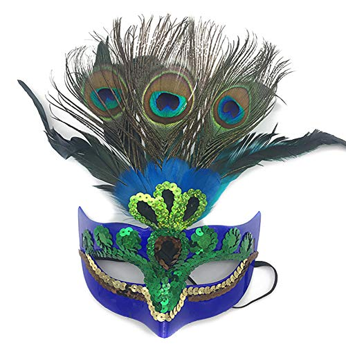Snner 1Pcs Makeup-Maske Prom Mode Pfau-Feder-Schablonen-Partei-Schablonen-venetianische Maskerade Maske Maske für Frauen Blau