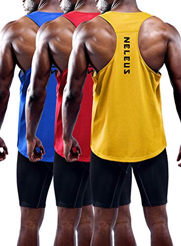 Neleus Men's 3 Pack Workout Running Tank Top Sleeveless Gym Athletic Shirts,5080,Blue/Red/Yellow,M