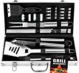 ROMANTICIST 20pc Heavy Duty BBQ Grill Tool Set in Case - The Very Best Grill Gift on Birthday...