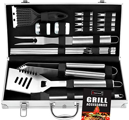 ROMANTICIST 20pc Heavy Duty BBQ Grill Tool Set in Case - The Very Best Grill Gift on Birthday Wedding - Professional BBQ Accessories Set for Outdoor Cooking Camping Grilling Smoking