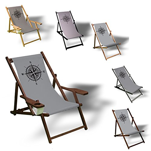 Printalio - Kompass - Liegestuhl Bedruckt Balkon Garten Sonnenliege Relax Holz Terrasse   mit Armlehne, Dunkelbraun