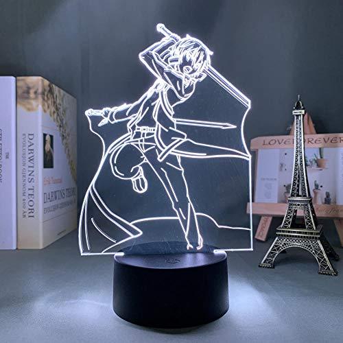 Kirito - Figura decorativa LED de acrílico con diseño de espada de anime en línea, para dormitorio, decoración nocturna, cumpleaños, habitación