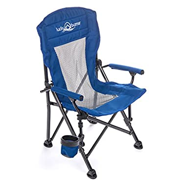 Lucky Bums Youth Folding Arm Chair with Cup Holder, Navy, Medium, Navy, Medium