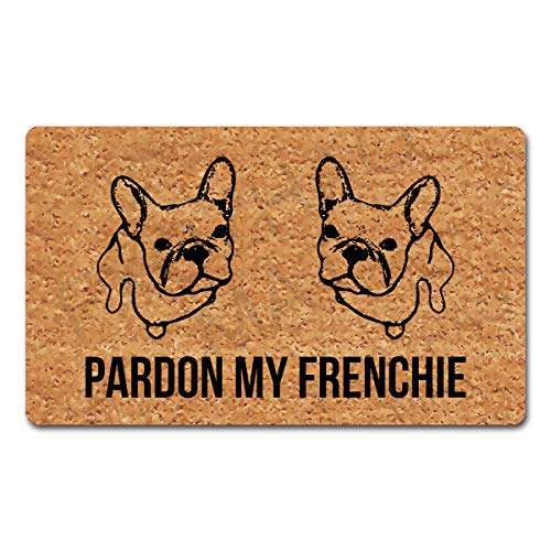 Welcome Mat with Rubber Back 30'(L) x 18'(W) Pardon My Frenchie Funny Doormat for Entrance Way Indoor Mats for Front Door Mat No Slip Kitchen Rugs and Mats