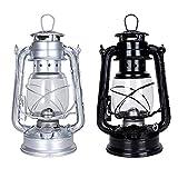 懐かしい灯油ランプパラフィンランプハリケーンウィックオイルランプランタンキャンプの家の装飾のための野生の非常灯, 高さ19 cm, Pack of 2 Piece (silver+black)