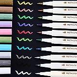 Pennarelli metallici glitterati penna calligrafica con pennello a vernice, Ohuhu 10 per il regalo di compleanno di auguri fai-da-te Biglietto di ringraziamento, Album fotografico, Pittura su roccia
