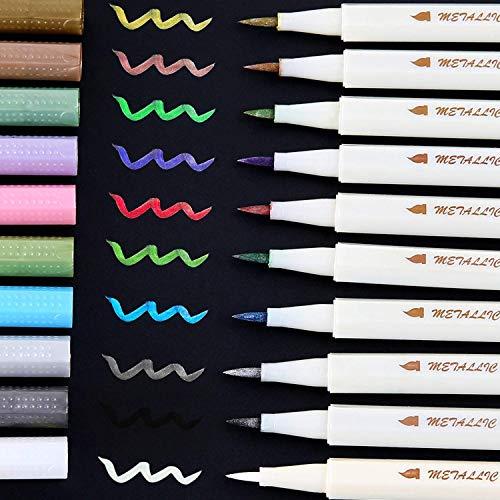 Pennarelli metallici glitterati penna calligrafica con pennello a vernice, Ohuhu 10 per il regalo di...