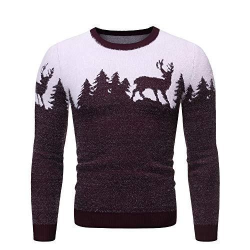 Aiserkly Suéter de Navidad para hombre de invierno grueso cuello redondo jersey de manga larga impresión sudadera Top hombres otoño invierno punto jersey Navidad camisa blusa