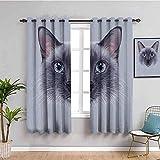 Azbza Cortinas opacas para sala de estar, diseño de gato siamés, 90% opacas, impresión 3D, cortinas para niñas y niños, ventana de dormitorio, 55 x 63 pulgadas, filtro de luz, protección de privacidad