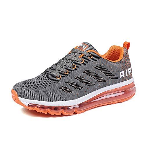 frysen Herren Damen Sportschuhe Laufschuhe mit Luftpolster Turnschuhe Profilsohle Sneakers Leichte Schuhe Gray Orange 37