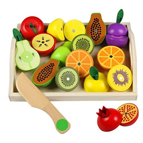 Fruits et Légumes Jouets Bois Magnetique Fruit a Decouper Enfant Jeu de Cuisine Legumes Fruits Jouet Cadeau pour Enfant 3 4 5 6 7 Ans