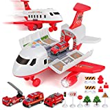 BeebeeRun Car Toy Set Cargo Plane with 4 Fire Fighting Vehicles and 11 Road Signs, Transport Airplane Toys w/Lights & Sounds for 3+ Years Old Boys and Girls, Kids Child Birthday Party Favor Gift