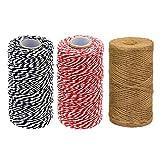 Anyasen 3 Piezas Hilo de Algodón Cuerda de Algodón Guita de Panadero Cordón Navideño de Envolver Regalos cinta cordel 2mm*100m Rojo Blanco Negro Yute