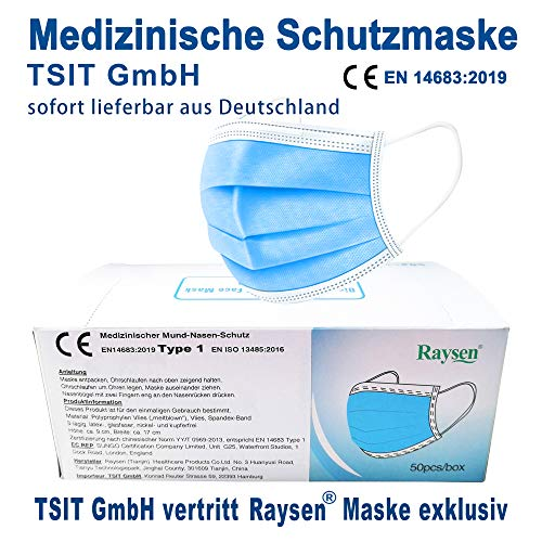 50 x Raysen medizinische Mundschutz Maske, Gesichtsmaske, Atemmaske, Mund Nase Schutz, Hygienemaske, 3-lagig, Einweg, Norm EN14683:2019, TÜV Rheinland EN ISO 13485:2016, 50er Packung, Versand aus DE