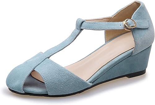 Sandalias de damen Tacones de Cuero Tacones de damen Baotou schuhe de damen Bajos para Ayudar a los schuhe de damen, Altura del talón 5 cm (Farbe   Blau, Größe   36)