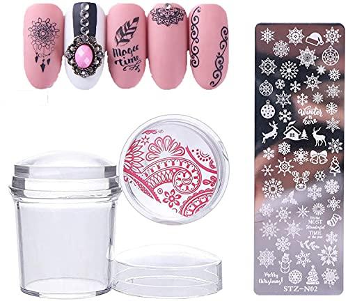 Sellador de uñas de gelatina transparente, 1 sello de silicona transparente para uñas + 1 raspador + 1 placa de...