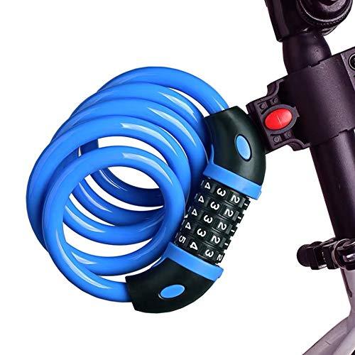FGX Candado Para Bicicleta, Candado De Bicicleta Antirrobo De Combinación, Cadena De Alta Seguridad, Con 5 Dígitos Reajustables, Para Bicicleta, Bicicleta De Montaña, Patinete, 120cm/12mm (Azul)